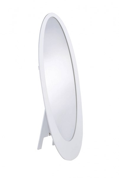 Transitional White Wood Oval Shaped Floor Mirror CST-901847