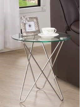 Contemporary Metal Glass Round Accent Table CST-901914