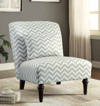 White Grey Fabric Wood Accent Chair w/Chevron Print & Matching Pillow CST-902018