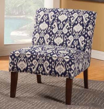 Navy White Fabric Wood Cushion Back Accent Chair CST-902028