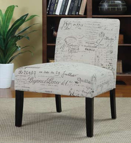 Coaster Furniture Off White French Script Accent Chair