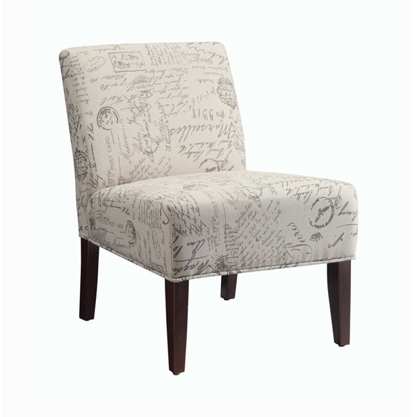 Coaster Furniture Off White French Script Accent Chair CST-902055