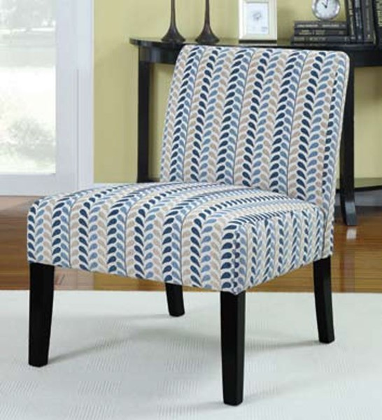 Blue Beige Wood Fabric Cushion Back Accent Chair CST-902059