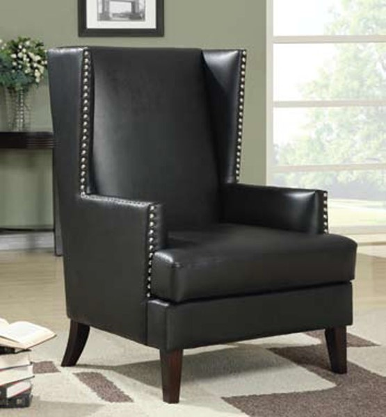 Traditional Black Wood Leather Like Vinyl Accent Chair CST-902078