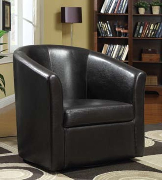 Dark Brown Leather Like Vinyl Accent Chair CST-902098