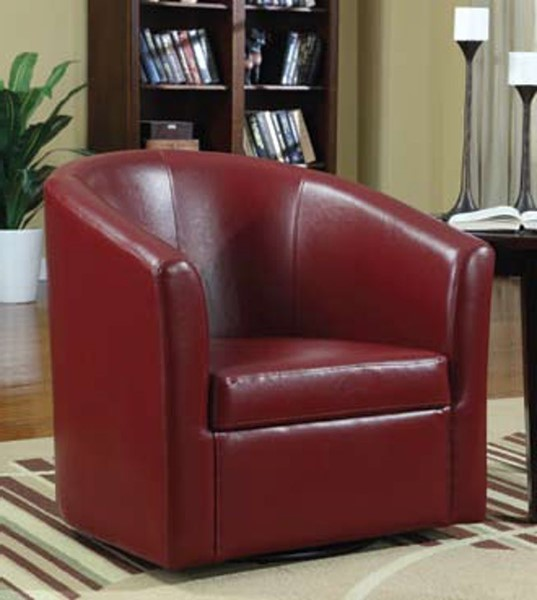 Small Red Leather Accent Chair: Coaster Furniture Red Faux Leather Swivel Accent Chair