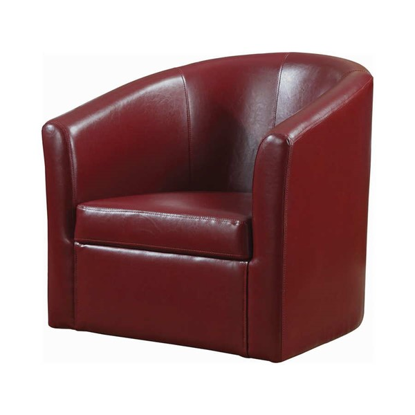 Coaster Furniture Red Faux Leather Swivel Accent Chair CST-902099