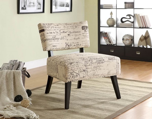 Casual Beige Wood Fabric Cushion Back Accent Chair CST-902114