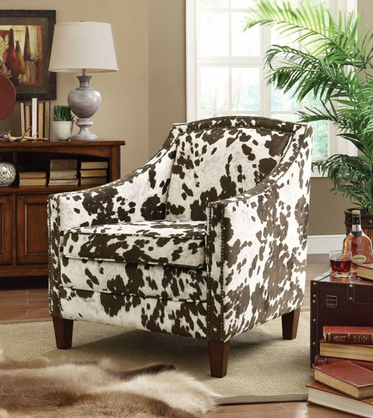 Fabric Wood Nailheads Lounge W/Cow Hide Pattern CST-902134