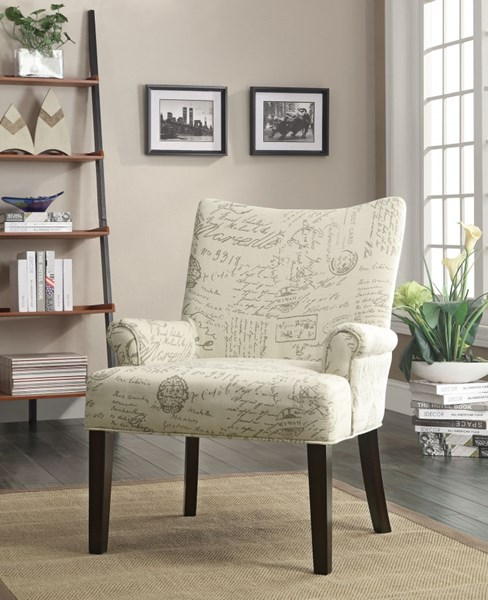 Classic Beige Cappuccino Fabric Wood Accent Chair CST-902149