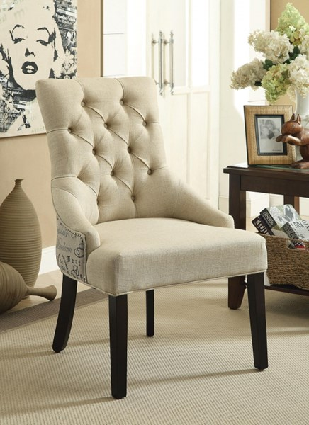 2 Beige Fabric Accent Chairs w/Button Tufted Back & Nailhead CST-902171