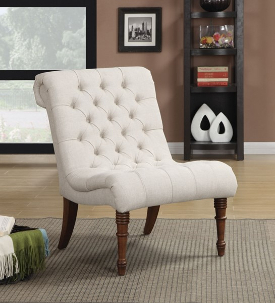 Elegant Oatmeal Fabric Wood Tufted Back Accent Chair CST-902176