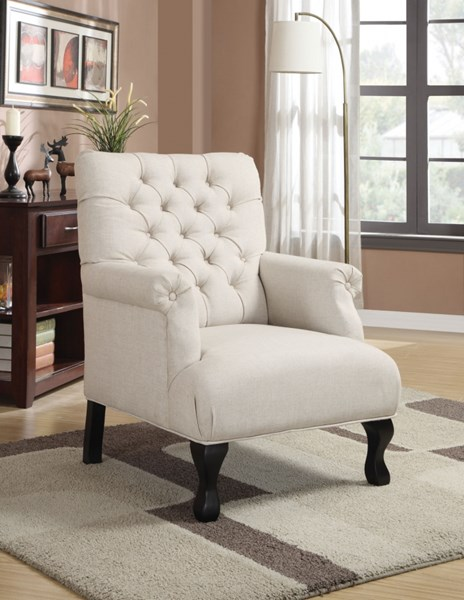 Traditional White Fabric Wood Accent Chiar W/Button Tufted Back CST-902177