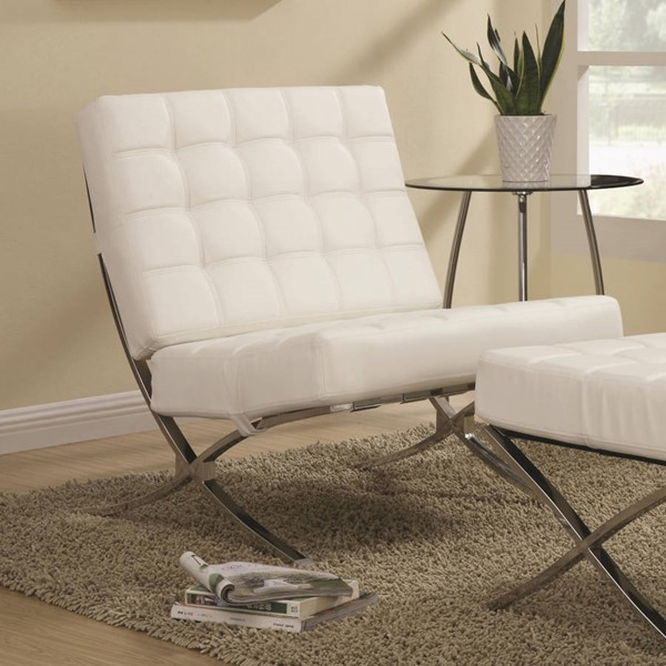 Contemporary White Leather Like Vinyl Metal Accent Chair CST-902183