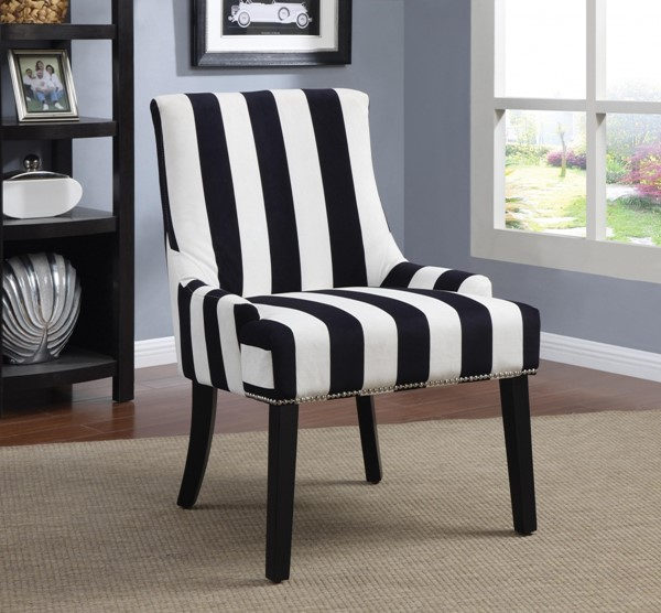 Navy White Fabric Stripe Pattern & Nailhead Accent Chair CST-902188