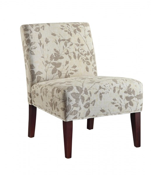 Beige Taupe Fabric Wood Accent Chair W Leaf Print The
