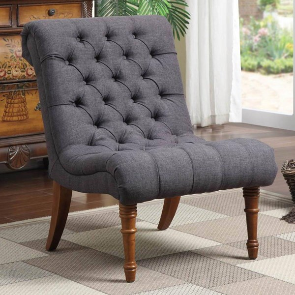 Charcoal Grey Fabric Wood Accent Chair w/Tufted Seating CST-902217