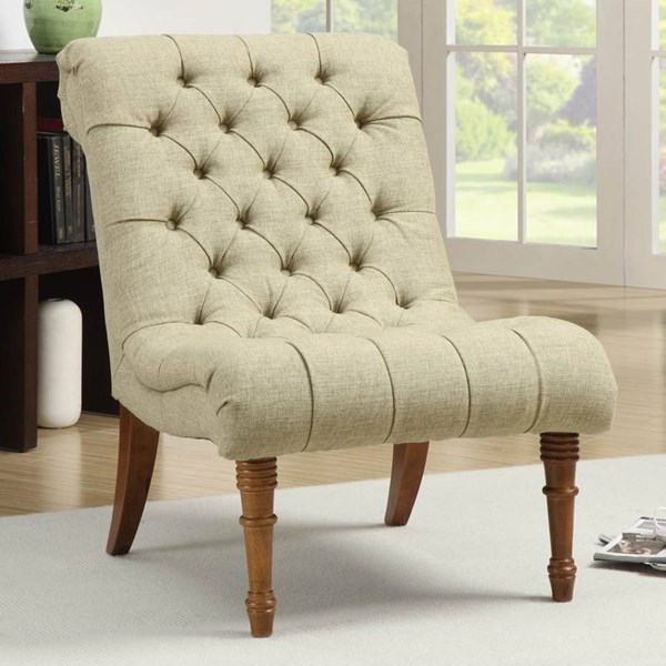 Green Fabric Wood Accebt Chair w/Tufted Seating CST-902218