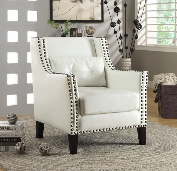 Traditional White Faux Leather Accent Chair w/Lumbar Pillow CST-902225