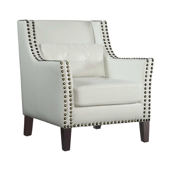 Coaster Furniture White Nailhead Accent Chair with Lumbar Pillow CST-902225
