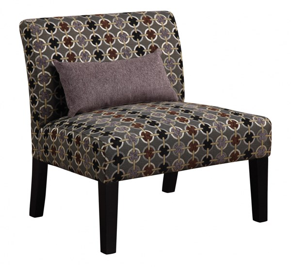 2 Grey Brown Fabric Wood Accent Chairs w/Lumbar Accent Pillow CST-902234