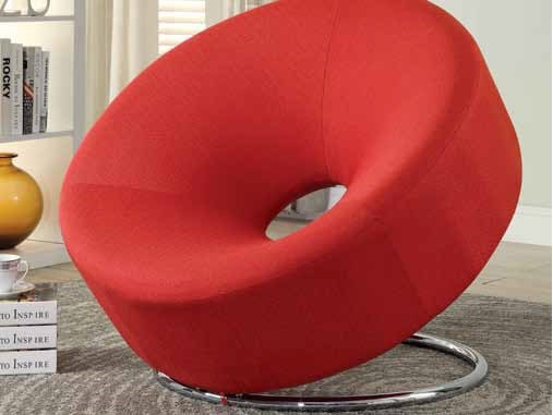 Contemporary Red Foam Fabric Metal Accent Chair w/Donut Shape CST-902252