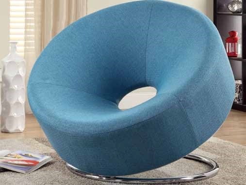 Contemporary Blue Foam Fabric Metal Accent Chair w/Donut Shape CST-902254