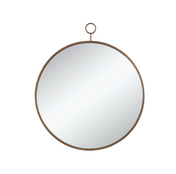 Transitional Circular Design Bronze Metal Round Mirror