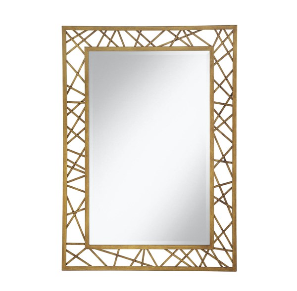 Contemporary Geometric Rectangle Frame Gold Metal Mirror CST-902355