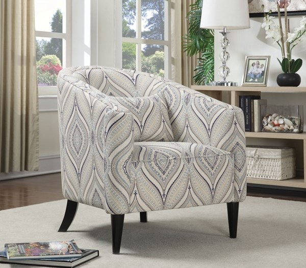 Off White Blue Grey Fabric Pillow Back Accent Chair CST-902405