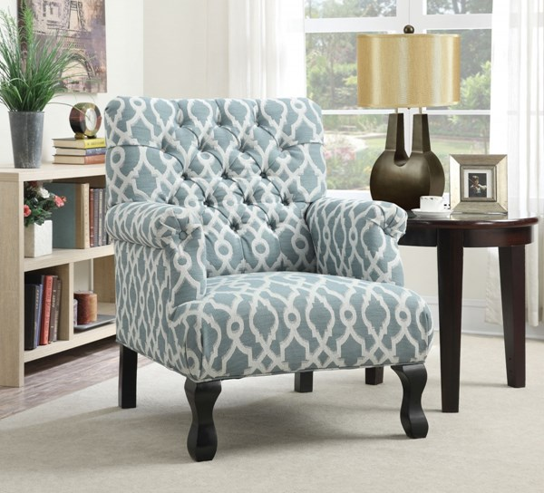 Blue Fabric Accent Chair w/Button Tufted & Rolled Arms CST-902406