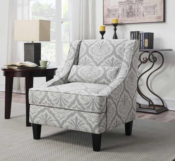Grey Fabric Pillow Back & Recessed Arms Accent Chair CST-902412