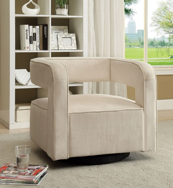 Contemporary White Fabric Accent Chair w/Swivel Mobility CST-902427