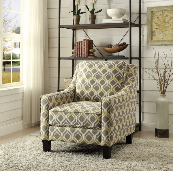 Yellow Fabric Wood Accent Chair CST-902428