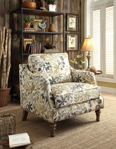 Beige Fabric Wood Accent Chair W/Nailheads CST-902456
