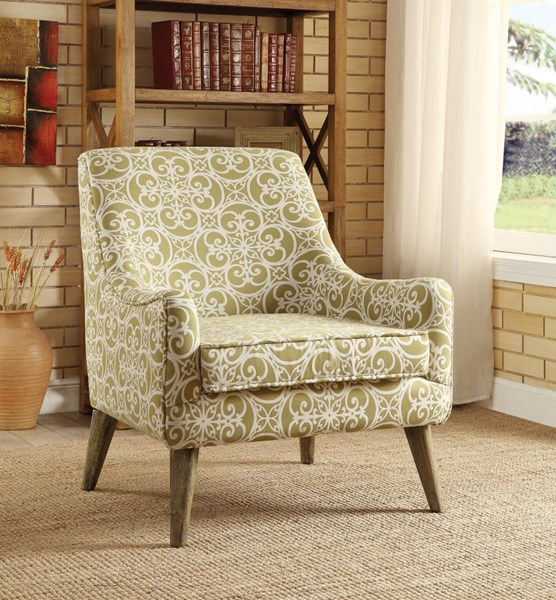 Green White Fabric Armless Accent Chair CST-902478