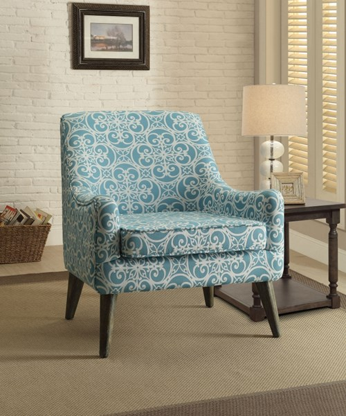 Blue White Fabric Armless Accent Chair CST-902479