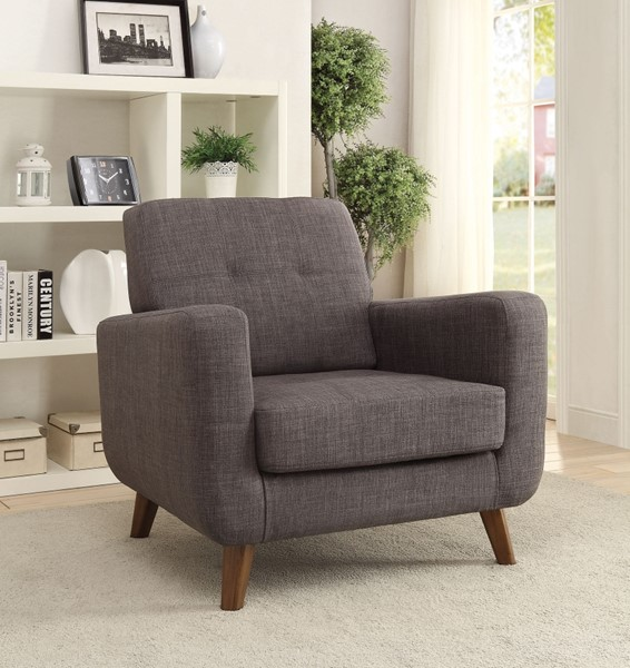 Modern Grey Fabric Track Arms & Tufted Back Accent Chair CST-902481