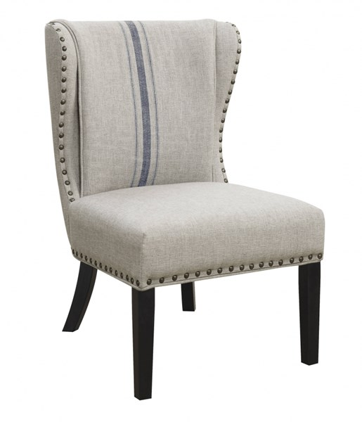 Grey Cappuccino Fabric Wingback Armless Nailhead Trim Accent Chair CST-902496