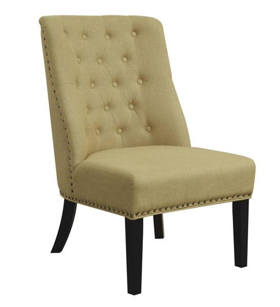 Yellow Cappuccino Fabric Button Tufted Bronze Nailhead Accent Chair CST-902497