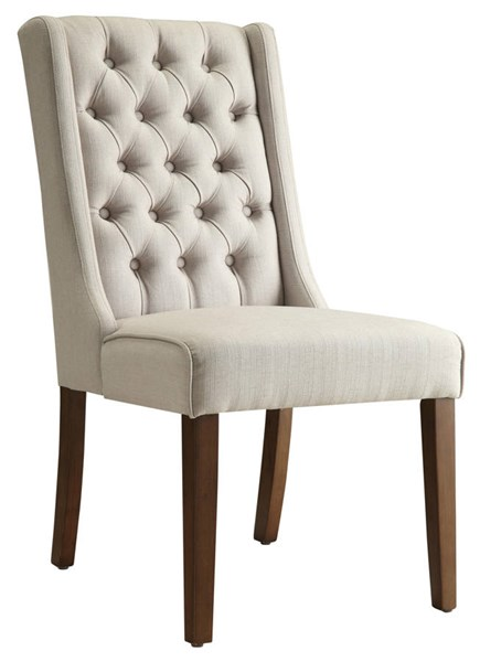 2 Beige Fabric Wood Accent Side Chairs W/Button Tufted Back CST-902502
