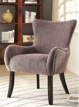 Grey Fabric Wood Accent Chair w/Flared Legs & Nailheads CST-902504