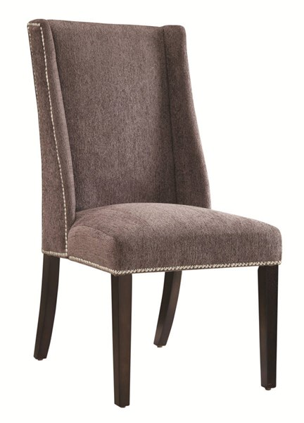 2 Grey Fabric Wood Nailhead Wing Back Accent Side Chairs CST-902505