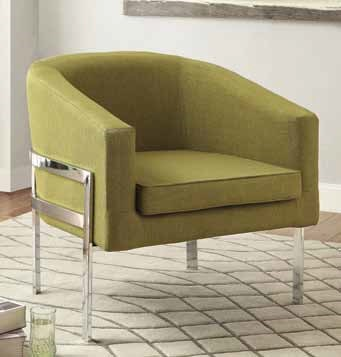 Contemporary Green Fabric Metal Accent Chair CST-902531