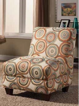 Brown Fabric Wood Accent Chair w/Medallion Motif Print CST-902533