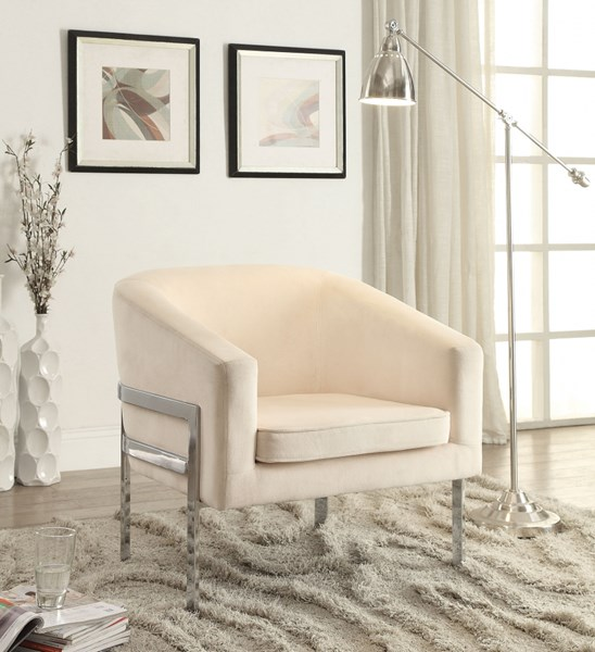 Contemporary Cream Fabric Barrel Back Accent Chair CST-902535