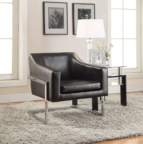 Contemporary Black Faux Leather Metal Accent Chair CST-902538