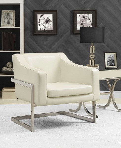 Contemporary White Faux Leather Leatherette Metal Accent Chair CST-902539