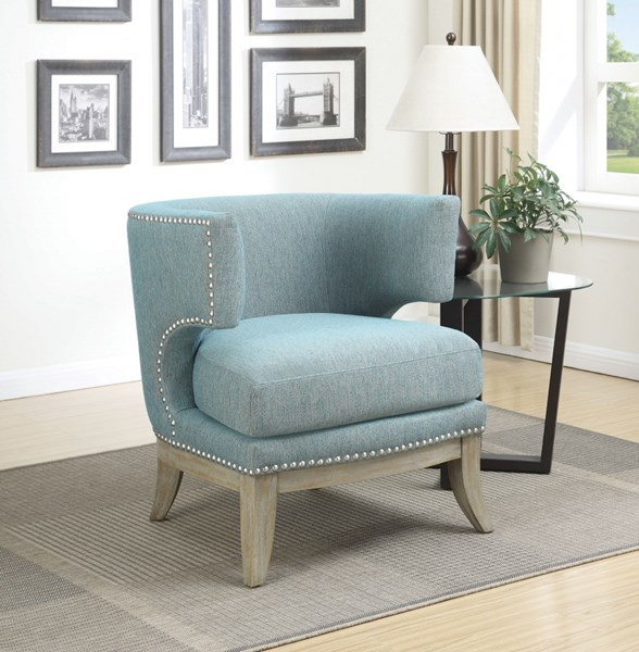 Blue Fabric Wood Barrel Back Accent Chair CST-902558