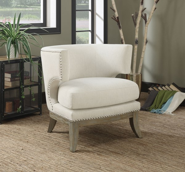 White Fabric Wood Nailheads Accent Chair CST-902559